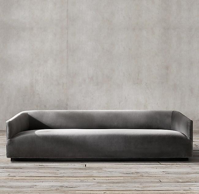 1950s Italian Shelter Arm Upholstered Sofa