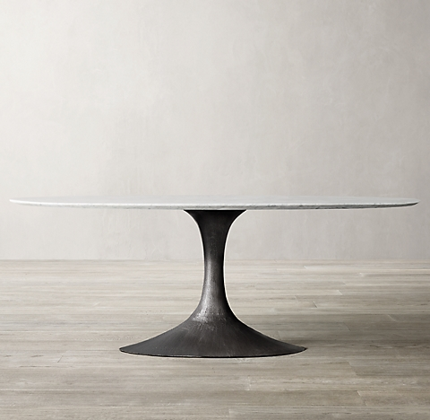 Aero Marble Oval Dining Table RH - Oval marble dining table