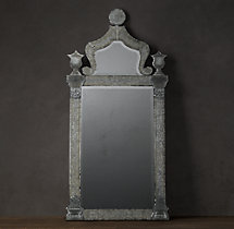19th c baroque ravenna etched leaner mirror for Baroque leaner mirror