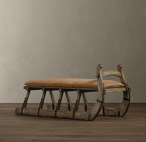 Antique Hungarian Sleigh Bench Burlap