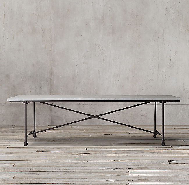 Flatiron Marble Rectangular Dining Table Wwwmicrofinanceindiaorg - Restoration hardware marble dining table
