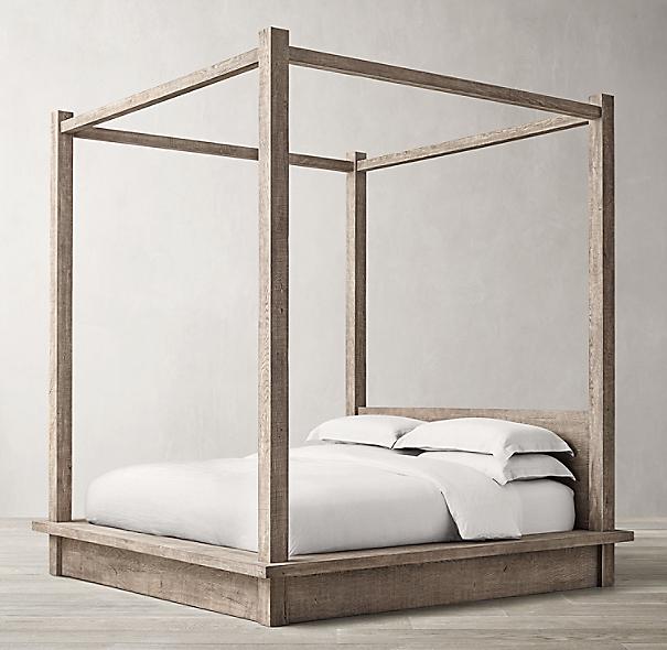 Reclaimed Russian Oak Canopy Bed