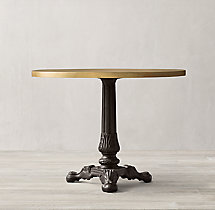 19th C. French Acanthus Brasserie Table with Brass Top
