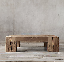 Reclaimed english beam square coffee table for Reclaimed beam coffee table