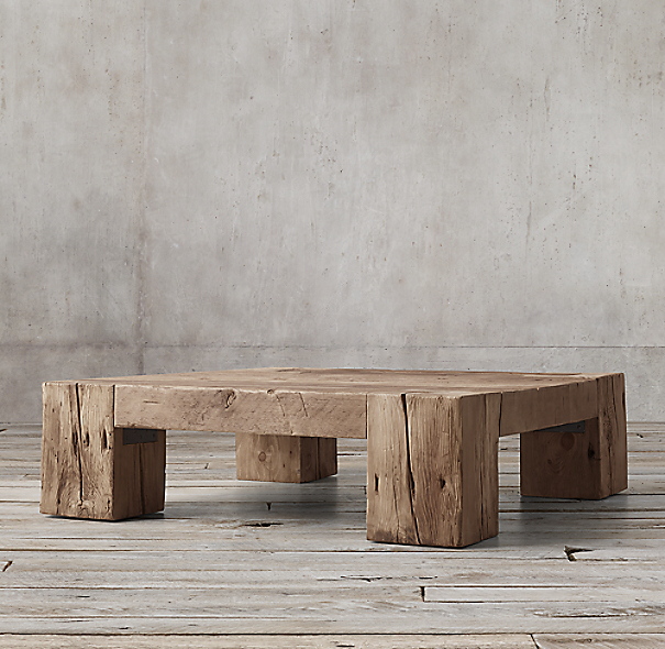 Reclaimed English Beam Square Coffee Table