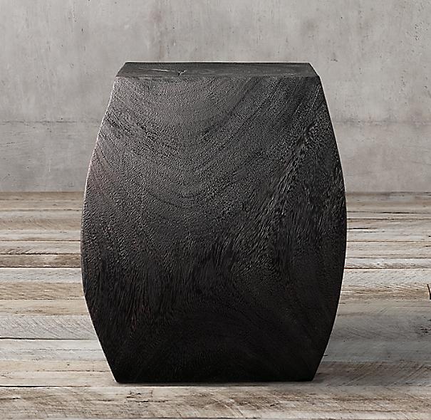 Suar Wood Curved Cube Stool