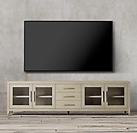 Graydon Shagreen Glass 4 Door Media Console With Drawers