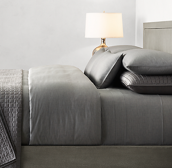 Italian 500 Thread Count Sateen Chambray Bedding Collection