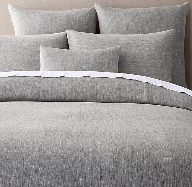 Woven Linen Chambray Solid Duvet Cover