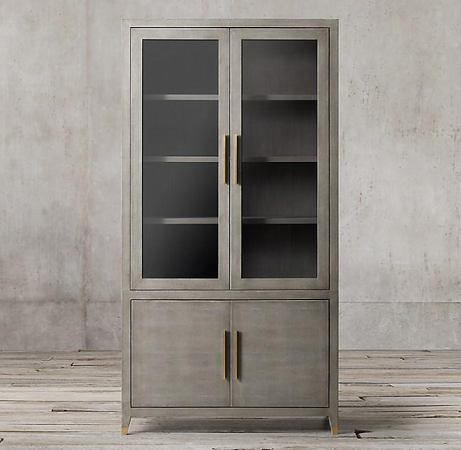 Graydon Shagreen Glass Double Door Sideboard Hutch