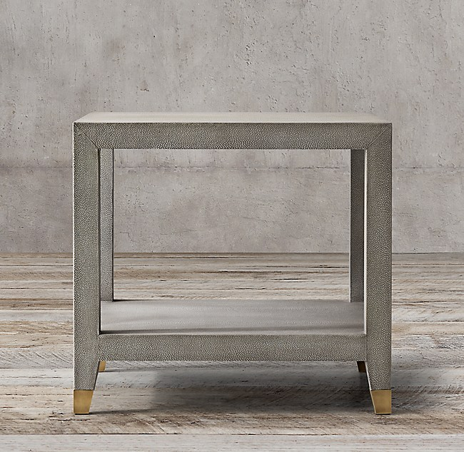 Greatest Graydon Shagreen Square Side Table GQ22