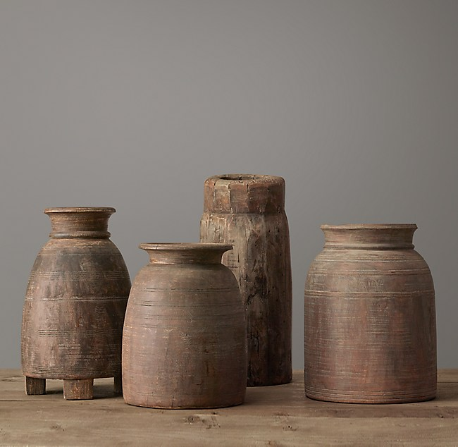 Indian Wood Vessel Collection Grand Vase