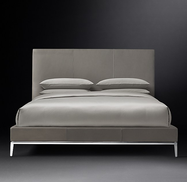 Italia Panel Non Tufted Leather Platform Bed