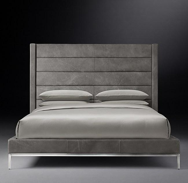 Italia Shelter Horizontal Channel Leather Platform Bed