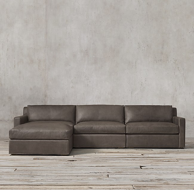 Belgian Track Arm Modular Leather Sofa Chaise Sectional