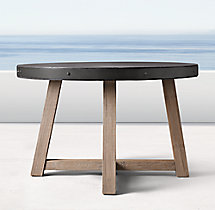 "French Beam Concrete & Teak 48"" Round Dining Table"