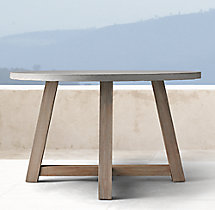 "French Beam Weathered Concrete & Teak 48"" Round Dining Table"