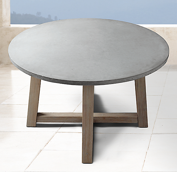 """Rh French Beam Coffee Table: French Beam Weathered Concrete & Teak 48"""" Round Dining Table"""