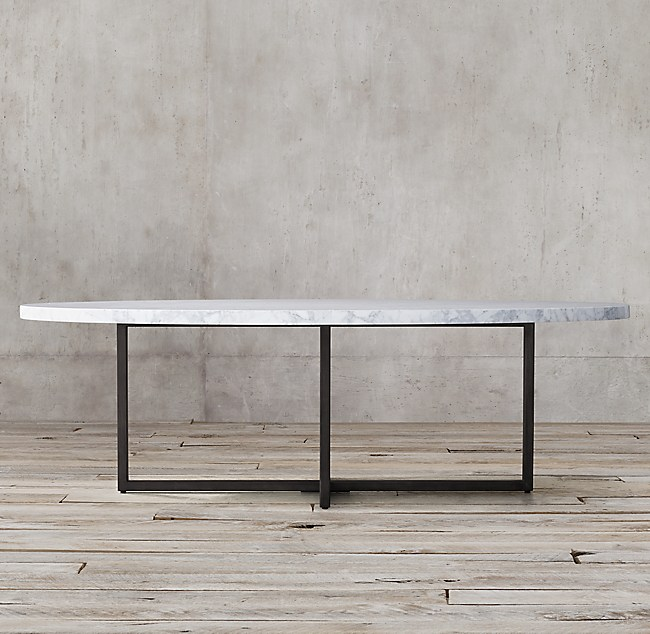 Torano Marble Collection White Marble Gunmetal RH - Restoration hardware marble dining table