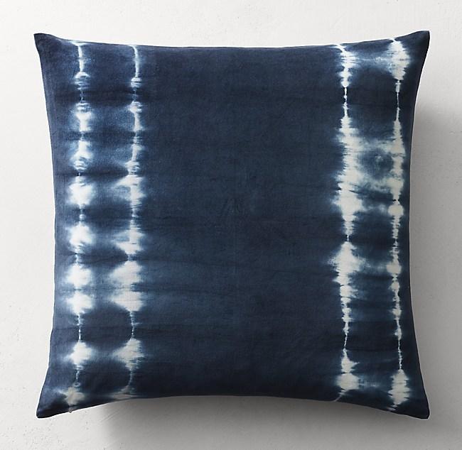Hand Dyed Shibori Velvet Stripe Pillow Cover Square