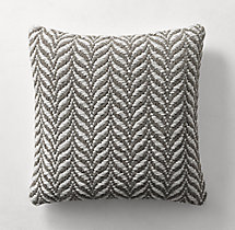 Ben Soleimani Textured Wool Chevron Pillow Cover - Square