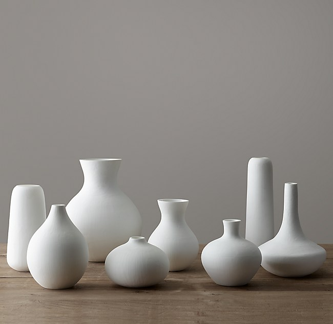 Matte White Glass Vase Collection