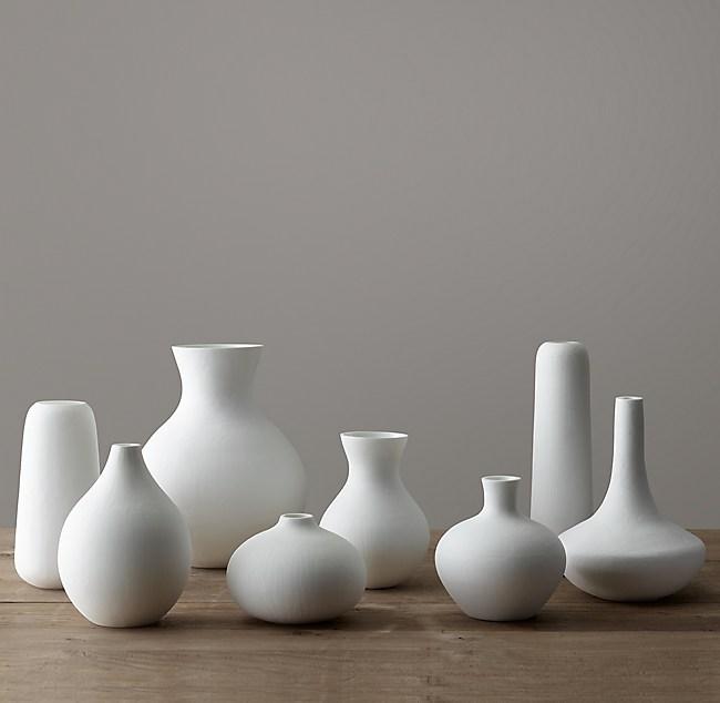 Matte White Glass Vase Collection