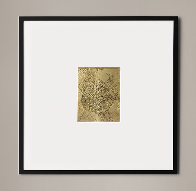 Christopher Wilcox: C. 1900 Metallic Leaf City Maps - Dallas Gold on