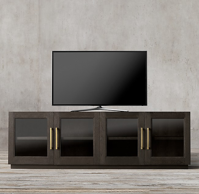 Shop GRAND FRAMED GLASS 4-DOOR MEDIA CONSOLE from Restoration Hardware on Openhaus