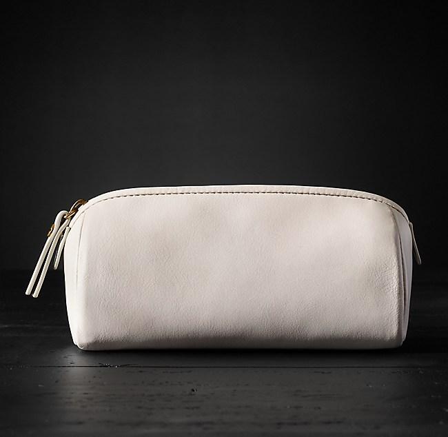 7de7d100ab84 Italian Leather Cosmetic Bag Small - Vellum