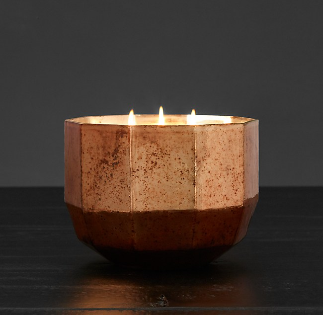 Mercury Glass Luxury Candle Large Copper Silk Road