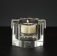 Cabanel Faceted Crystal Hexagon Tealight - Polished Nickel