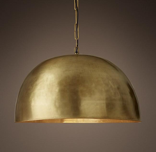 Grand brass dome pendant 30 aloadofball Choice Image