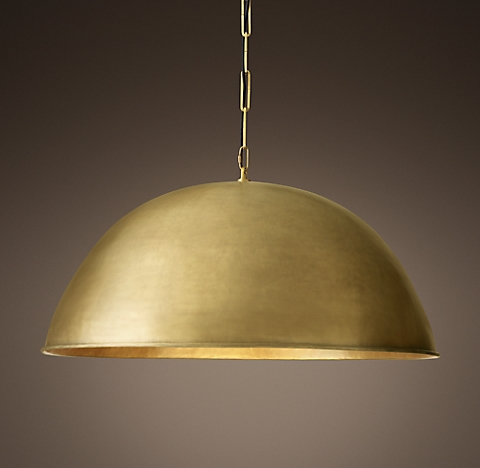Grand brass dome pendant 40