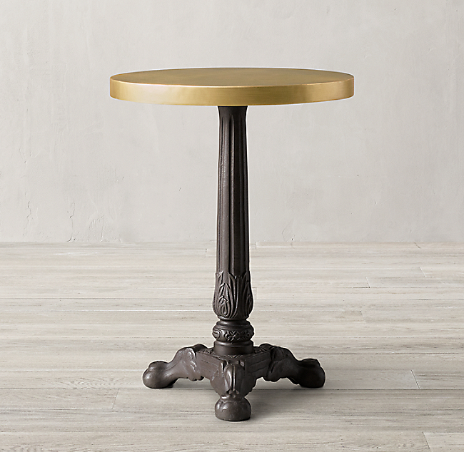 19th C French Acanthus Brasserie Table With Brass Top