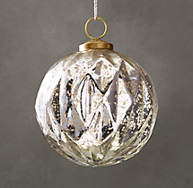 Vintage Handblown Glass Harlequin Ball Ornament - Silver