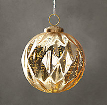 Vintage Handblown Glass Harlequin Ball Ornament - Gold