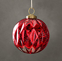 Vintage Handblown Glass Harlequin Ball Ornament - Red