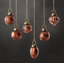 Vintage Handblown Glass Mini Ornaments (Set of 6) - Copper