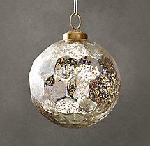 Vintage Glass Ornament - Hexagon Ball - Silver