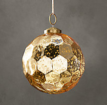 Vintage Glass Ornament - Hexagon Ball - Gold