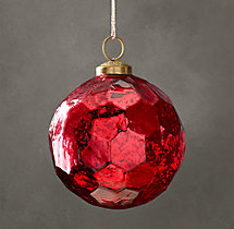 Vintage Glass Ornament - Hexagon Ball - Red
