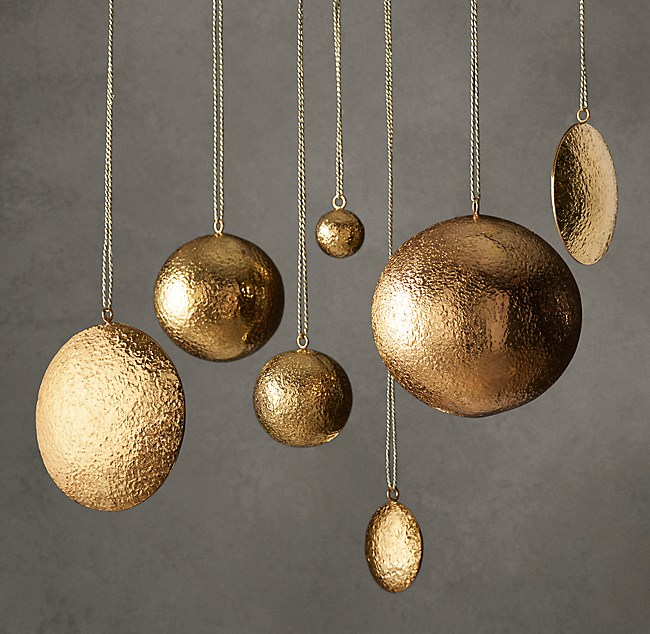 - Hammered Metal Ornament Collection - Brass