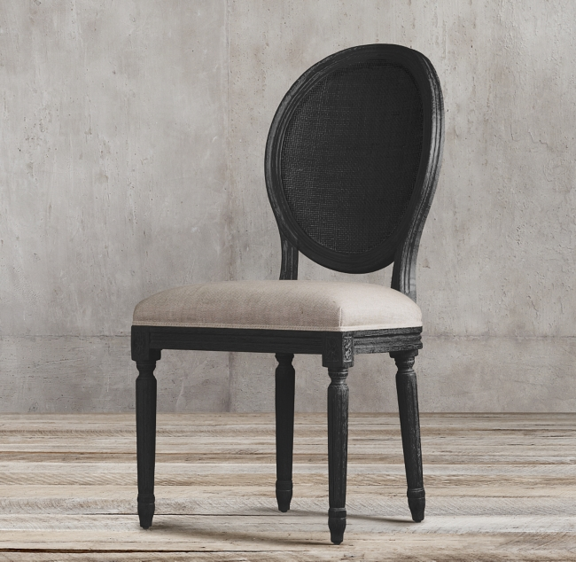 Shop VINTAGE FRENCH ROUND CANE BACK FABRIC SIDE CHAIR from Restoration Hardware on Openhaus